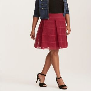 Torrid Sheer Striped Rose Flare Skirt